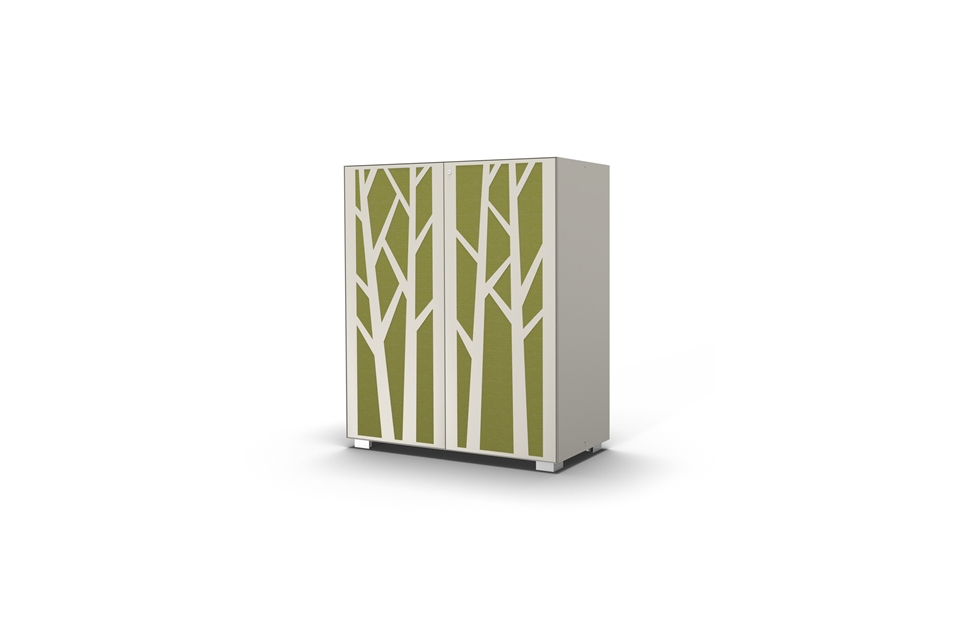 Hinged door cabinet with sound absorbing tree design doors